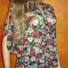 Victoria's Secret $128 Black Floral Split Sleeve Tunic Blouse Small 306956