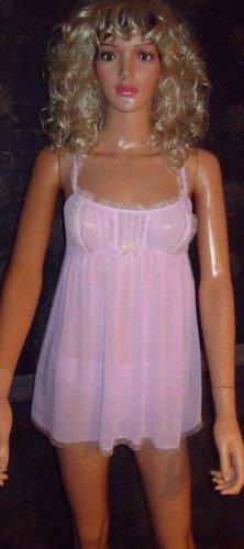 Victoria's Secret $49 Purple Orchid Chiffon Babydoll Nightgown Set Small 161206