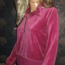 New Victoria's Secret Zip Neck Purple Velour Pullover Top Large  174981