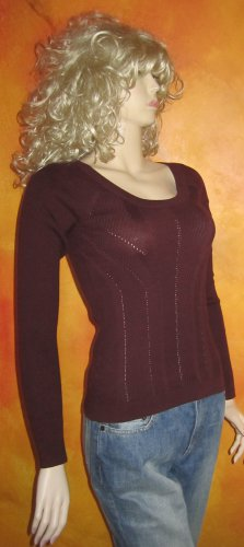 Victoria's Secret $60 Pointelle Cotton Burgundy Sweater Medium 286742