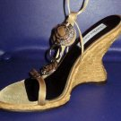Victoria's Secret Charles David $178 Gold Bronze Beaded High Wedge Sandals 7.5 199311