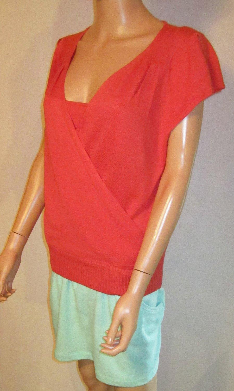 Victoria's Secret $48 Faux Wrap Short Sleeve Orange Silk Blend Sweater Top Large  192639