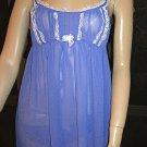 Victoria's Secret $49 Purple Orchid Chiffon Babydoll Nightgown Set Medium 161206