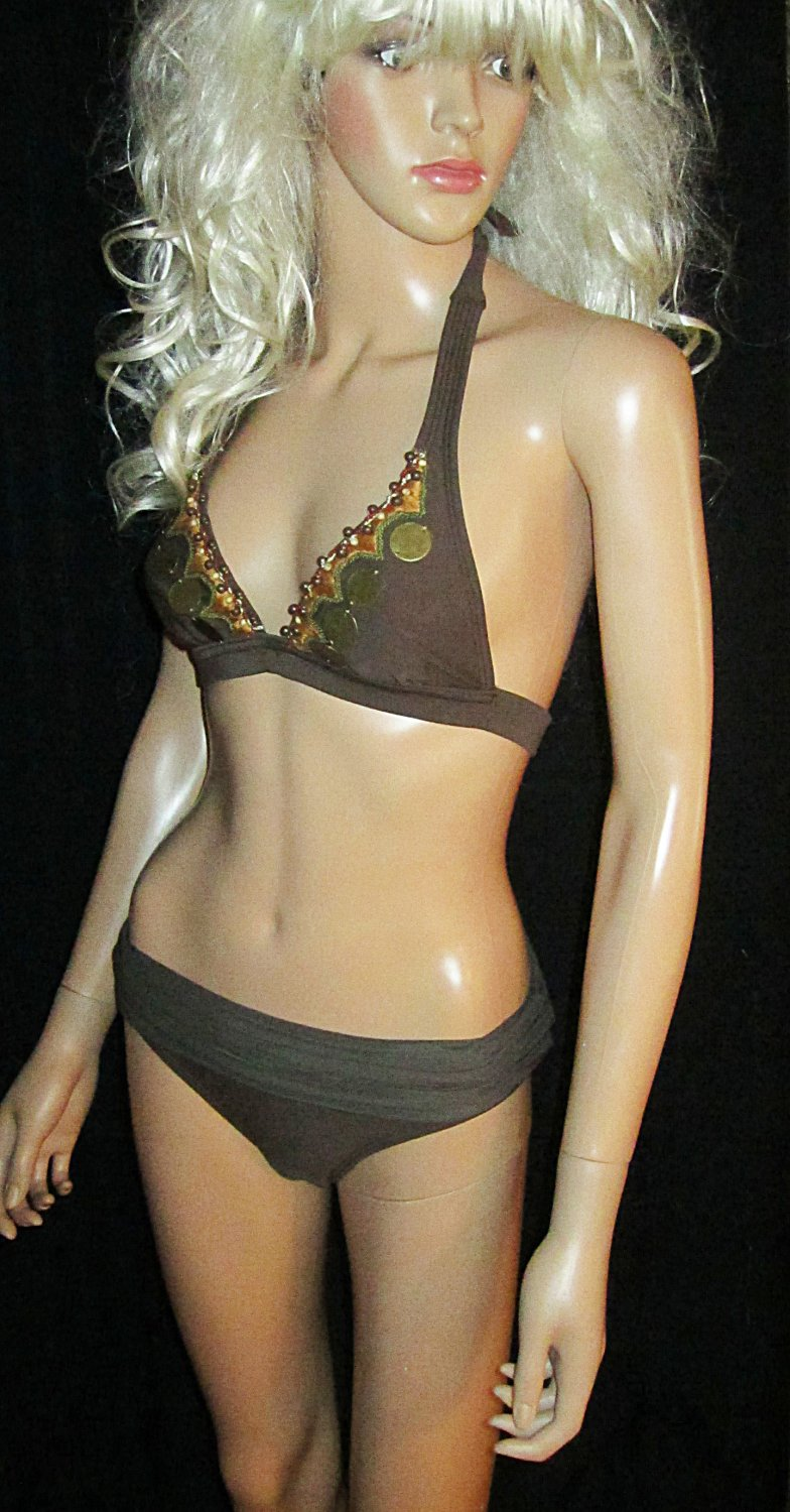 Victoria�s Secret $140 Vix Brown Beaded & Brass Bikini Small  195479