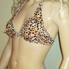 Victoria's Secret $60 Animal Print Black Underwire Push-Up Halter 36B Bikini Top 307653