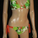 Victoria's Secret $98 OP Black Green Orange Jungle Print O Ring Bikini Small 195222