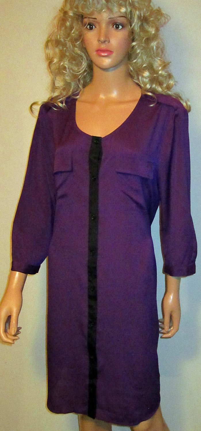 Victoria's Secret Colorblock Purple & Black Shirt Dress XL 289367