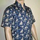 Eddie Bauer Cotton Blue Short Sleeve Hawaiian Nautical Sailing Shirt Small  9647
