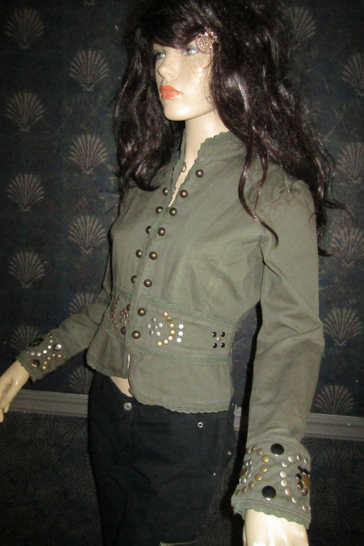New Victoria�s Secret $128 Brass Studded Green Cotton Jacket Blazer Medium  198975