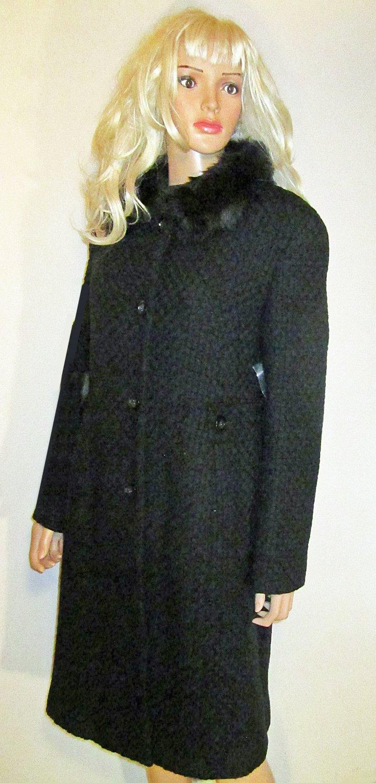 Victoria's Secret $159 Textured Black Wool Coat Size 14  176617