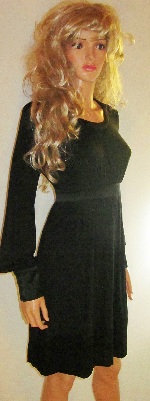Victoria's Secret $89 Long Sleeve Silk Trim Black Dress 8 214387