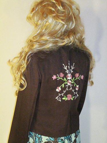 NWT Pink Collection Brown Tattoo Embroidered Cotton Jacket Large 627932