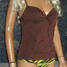 Victoria's Secret $94 Brown & Tiger Print Miracle Bra Tankini 36B Small 217904 263902
