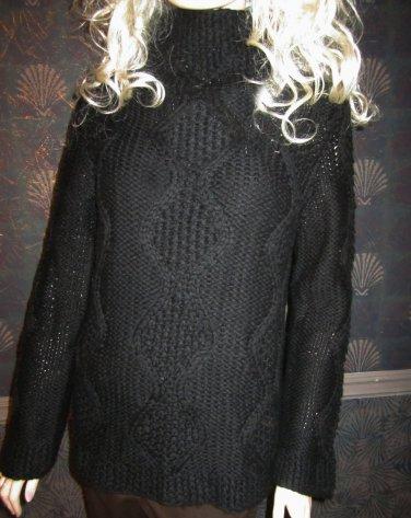 Victoria's Secret Mock Turtleneck Cableknit Black Tunic Sweater Small 188834