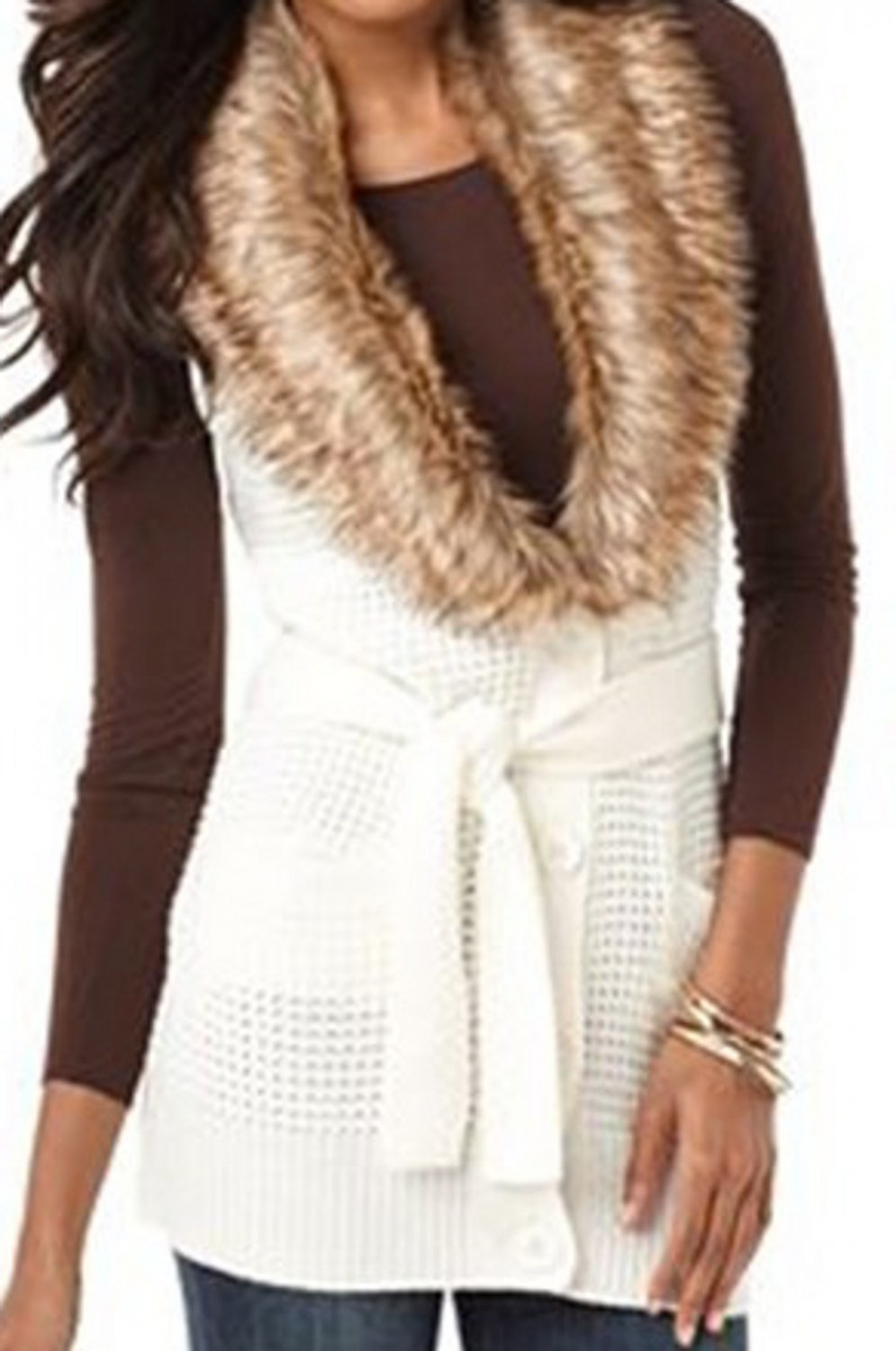 NWT NY Collection White Sleeveless Faux Fur Cardigan Sweater Petite Small 598623
