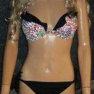 Victoria's Secret Ruffle Halter Leopard Black Push-Up 34D Medium Bikini  286790