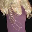 Victoria's Secret Embellished Gold Beaded V-Neck Purple Tank Top Small 260401