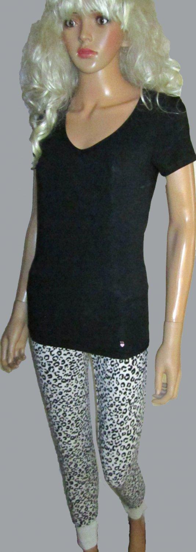 Victoria's Secret Love Pink White Print Lounge Pajama Pants Set Small Medium 288261