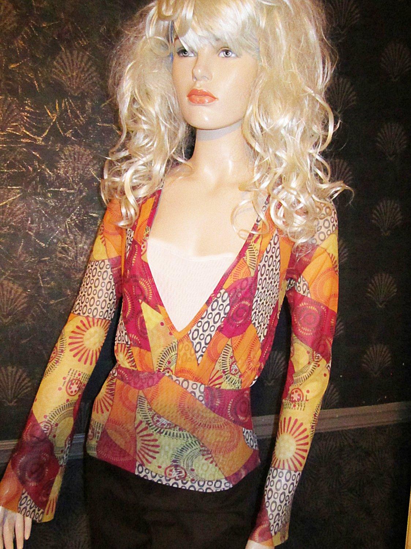 Victoria's Secret Summer Weight Red Orange Gold Long Sleeve Top XS 194436