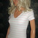 Victoria's Secret White Striped Bratop Short Sleeve Tee Top Size XS 182753