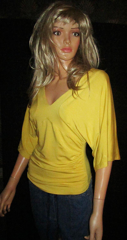 Victoria's Secret V Neck Elbow Length Raglan Sleeve Long Yellow Top XS 197114