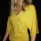 Victoria's Secret V Neck Elbow Length Raglan Sleeve Long Yellow Top XS 197114