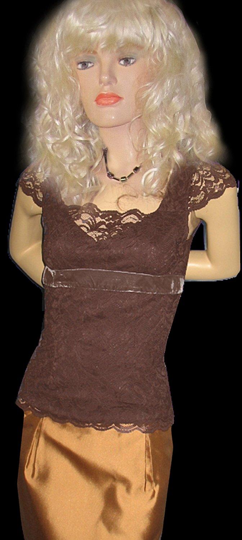 Victoria's Secret Brown Lace Cap Sleeve Top XS 199732