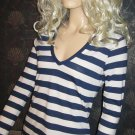 Victoria's Secret Blue White Stripe Dream Tee Shirt Hoodie Top Small XS 294999