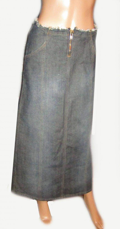 NWT Frankie B Jeans Long Blue Denim Jeans Skirt 2 72492