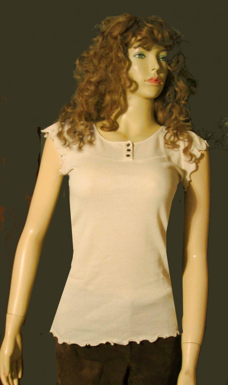 Victoria's Secret Oatmeal Beige Short Flutter Sleeve Top Medium 229336