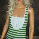 Victoria's Secret Pale Blue and Green Striped Cotton Tank Top Medium Large  206956
