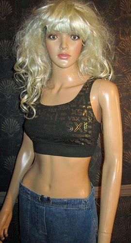 Victoria's Secret VSX Sexy Back Black & Gold Logo Exercise Sport Running Bra Small 292122
