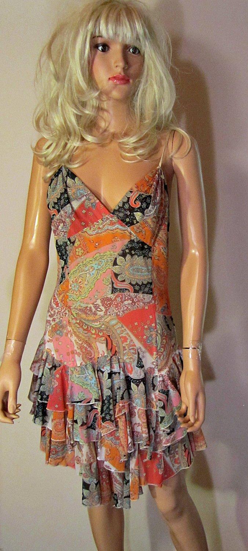 Victoria�s Secret $98 Sleeveless Paisley Party Dress 12 184019