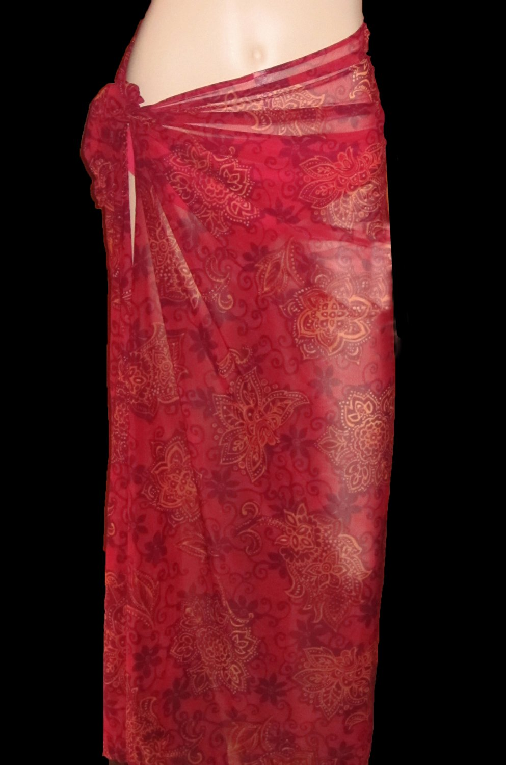 Victoria's Secret Red Sarong Long Skirt Cover-up XS Small 195622