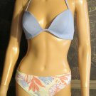 Victoria's Secret $82 Blue Underwire Bikini 36B Top XL Bottom 179775 179779