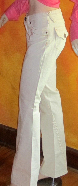 Victoria's Secret Off White Double Stitch Destruction Jeans 2 Tall 197559