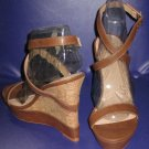 Victoria's Secret $78 Strappy Brown Wedge Platform Sandals 9  297131