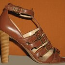 NIB Victoria's Secret $89 Cognac Brown Multi Strap Sandal Pumps 8.5  234597