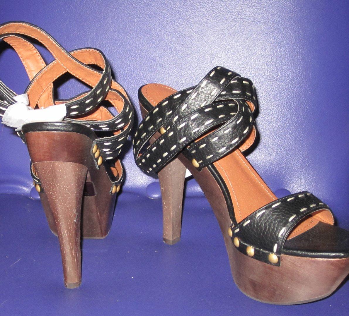 NIB Victoria's Secret $95 Black Leather Anklestrap Wood Platform Sandals 8.5 265814