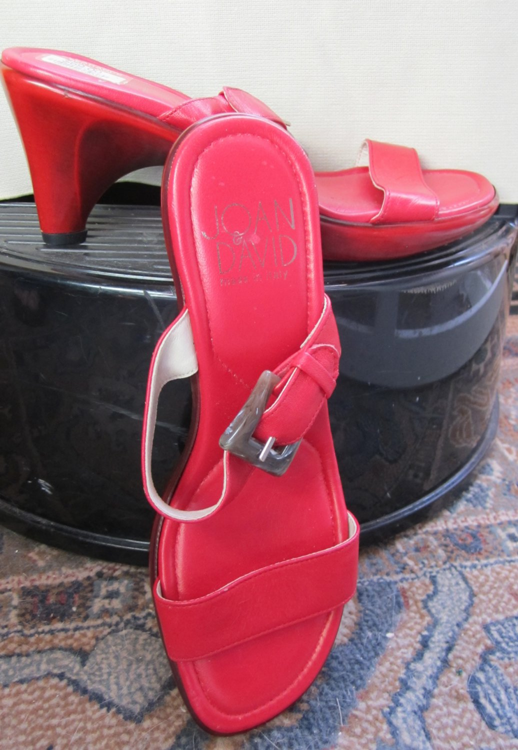 NIB Joan & David $289 Red Leather Slide Sandals with Red Soles 6 267814