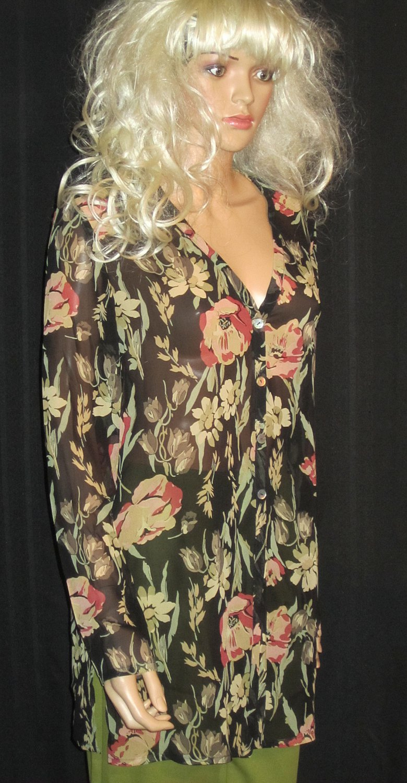 NWT Dana Buchman Long Silk Print Black Tunic Shirt Blouse Jacket 6
