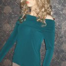 Victoria's Secret Off the Shoulder Green Teal Sexy Long Sleeve Top Medium 272065