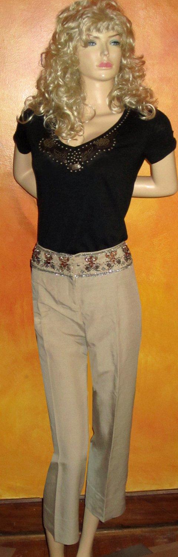 Victoria's Secret Beaded Waist Linen Blend Cropped Pants 12 NEW! 184041