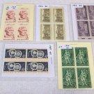 5 - 1950s  Blocks Of 4 US Postage 3 & 4  Cent Stamps /  Mint Unused