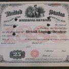 1883 $25 US Internal Revenue , Liquer Dealer Oversize Tax Stamp
