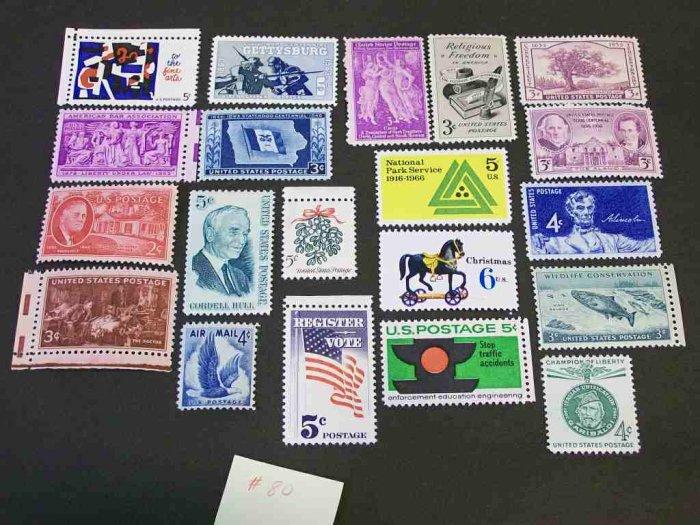 20 - Vintage 1930s-70s US Postage , 3 , 4,  5 , 6 ,  Cent Unused