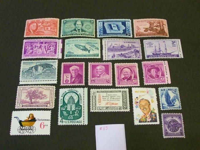 20 - Vintage 1930s-70s US Postage 2 , 3 , 4 , 6  Cent Unused