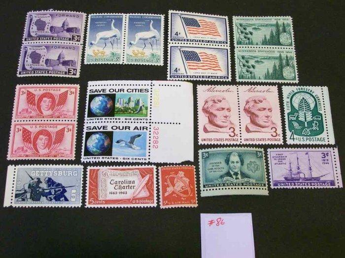 20 - Vintage 1940s-70s US Postage , 3 , 4 , 5 , 6  Cent Unused