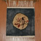 Wall Hanging Tapestry with Rod of a Bird on a Branch