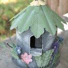 Bird House with Hummingbird and Flowers made of Tin B